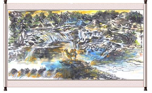 1972年水粉画《宝塔山下》